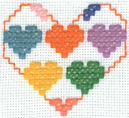 5 Hearts in 1 Heart Cross Stitch