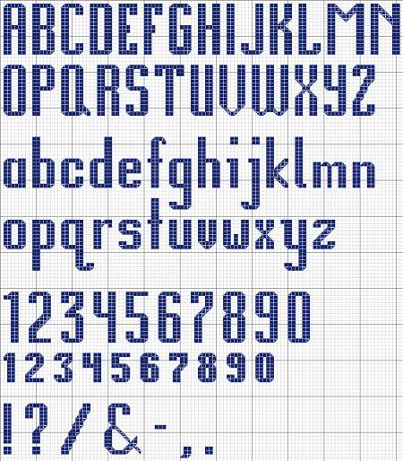 Knitting Letters Pattern Generator : Alphabet 12 Cross Stitch Design and Chart