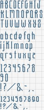 Alphabet 27 offers tall, thin letters that present some graphic interest in just a few stitches.