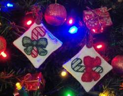 Candy Can Cross Stitch Ornaments on a Christmas Tree