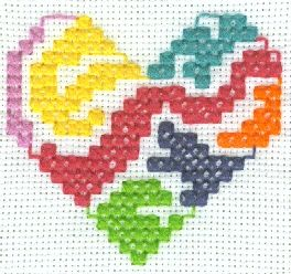 Lava Lamp Heart Cross Stitch