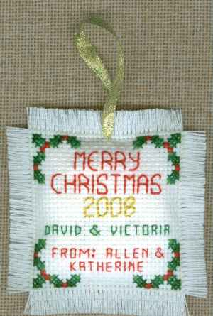 Joy Christmas Cross Stitch With Fringe - Reverse Side