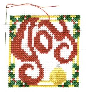 Joy Christmas Cross Stitch with Full Border