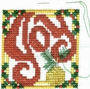 Joy Christmas Cross Stitch with Details