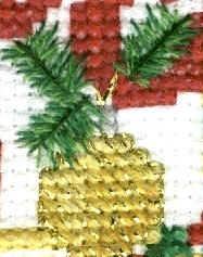 Close up detail of the needles and ornament