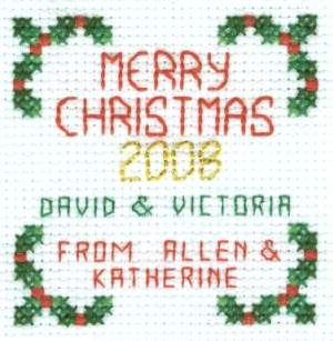 Joy Christmas Cross Stitch Reverse Side