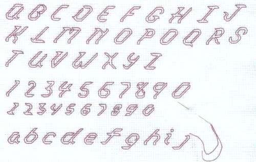 Italic Ouline Alphabet