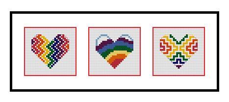 pink 3 geometric cross stitch heart patterns ** instant download** cross stitch PDF pattern hearts set of 3
